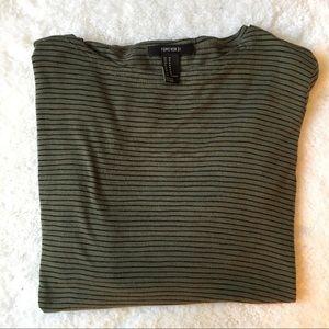 Forever 21 Olive Green Striped Shirt